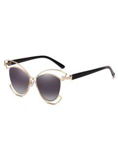 Metal Hollow Out Frame Novelty Sunglasses - Vampire Gray