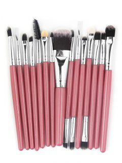 15 Pcs Ultra Soft Fiber Hair Foundation Eyeshadow Eyebrow Cosmetic Brush Kit - Light Pink