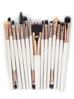 15 Pcs Ultra Soft Fiber Hair Foundation Eyeshadow Eyebrow Cosmetic Brush Kit - Coffee