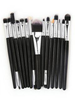 15 Pcs Ultra Soft Fiber Hair Foundation Eyeshadow Eyebrow Cosmetic Brush Kit - Black
