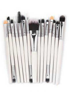 15 Pcs Ultra Soft Fiber Hair Foundation Eyeshadow Eyebrow Cosmetic Brush Kit - White