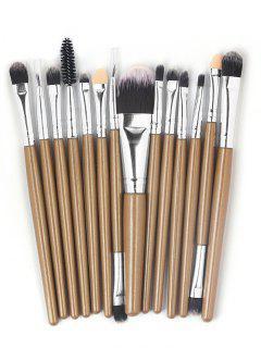Collection De Brosse Basique De Sourcil D'Ombre à Paupière De Maquillage Ultra Doux En Fibre 15 Pièces - Brun