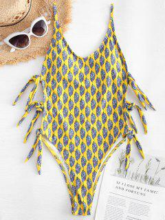 Feather Print Side Tie High Cut Swimsuit - Yellow L