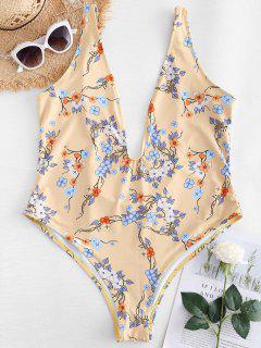 Maillot De Bain Floral De Grande Taille à Col Plongeant  - Blanche Amande 2x