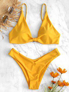 High Leg Knot Bikini Set - Bright Yellow S
