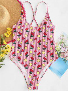 Cross Strap Cherry Striped Swimsuit - Lava Red L