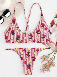 Kreuz Riemchen Kirsche Streifen Bikini - Lava Rot L