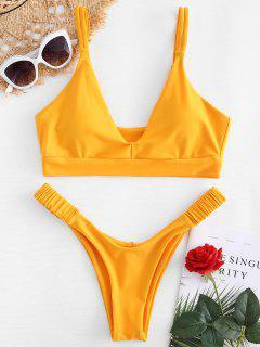 Doppelter Schulter Riemchen Thong Bikini - Niedliches Gummi Gelb L