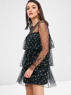 Stars Layered Mesh Dress - Black L