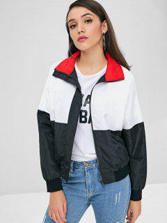 Zip Front Contrast Jacket - Multi L