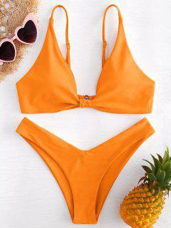 Hohes Bein Knoten Bikini Set - Orange M