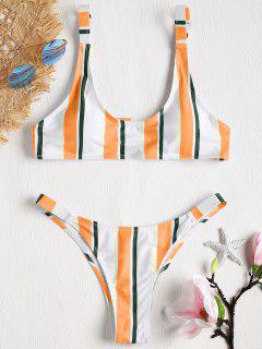 Gestreiftes Caged Bralette Bikini-Set - Goldgelb M