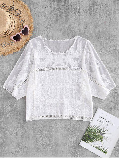 shops Mesh Panel Batwing Top - WHITE ONE SIZE Mobile