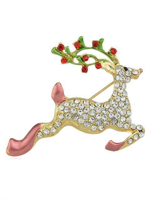 best Rhinestone Decorative Running Elk Design Brooch - GOLD  Mobile