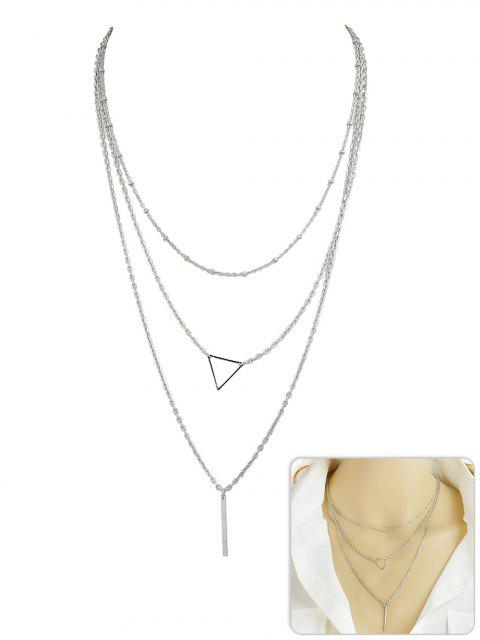 ladies Triangle Shape Layer Pendant Necklace - SILVER  Mobile