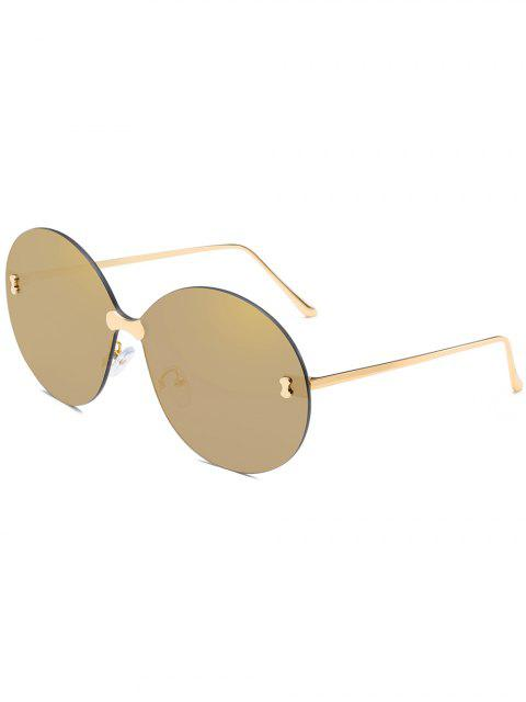 buy Anti UV Rimless Oversized Round Sunglasses - CHAMPAGNE GOLD  Mobile