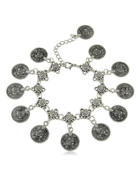 women Round Shape Print Pendant Chain Anklet - SILVER  Mobile