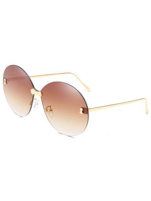 Anti-UV randlose übergroße runde Sonnenbrille - Braunes Kamel   Mobile