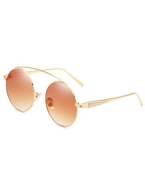 lady Rhinestone Inlaid Crossbar Circle Sunglasses - LIGHT BROWN  Mobile
