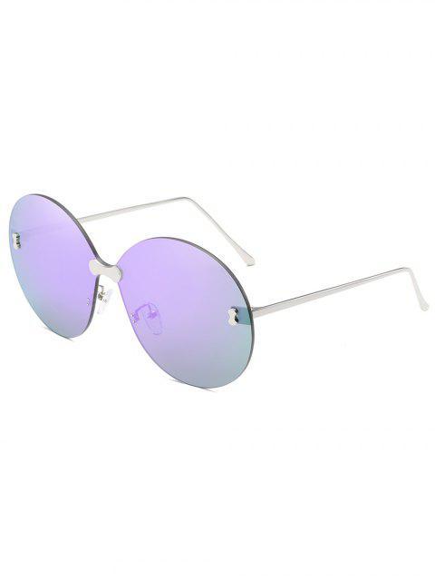 hot Anti UV Rimless Oversized Round Sunglasses - LILAC  Mobile