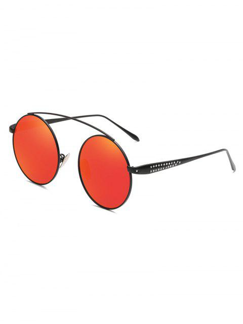 latest Rhinestone Inlaid Crossbar Circle Sunglasses - RED  Mobile