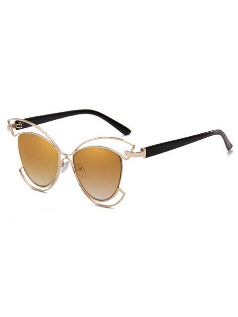 trendy Metal Hollow Out Frame Novelty Sunglasses - ORANGE GOLD  Mobile