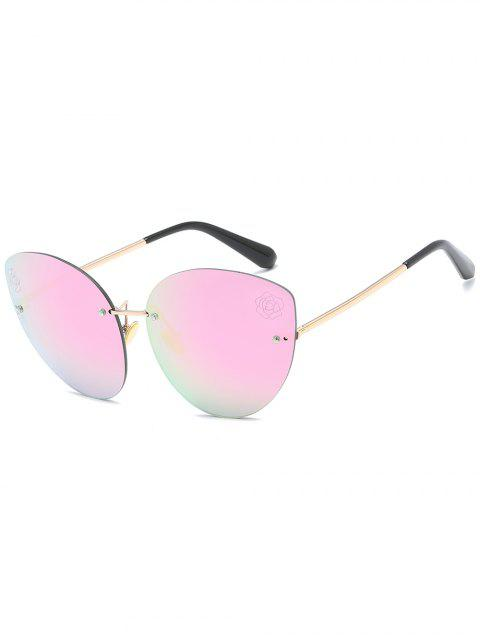 buy Stylish Floral Rimless Sun Shades Sunglasses - HOT PINK  Mobile