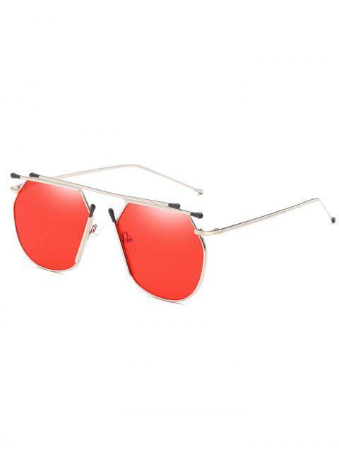 ladies Anti Fatigue Crossbar Alloy Pilot Sunglasses - RED  Mobile