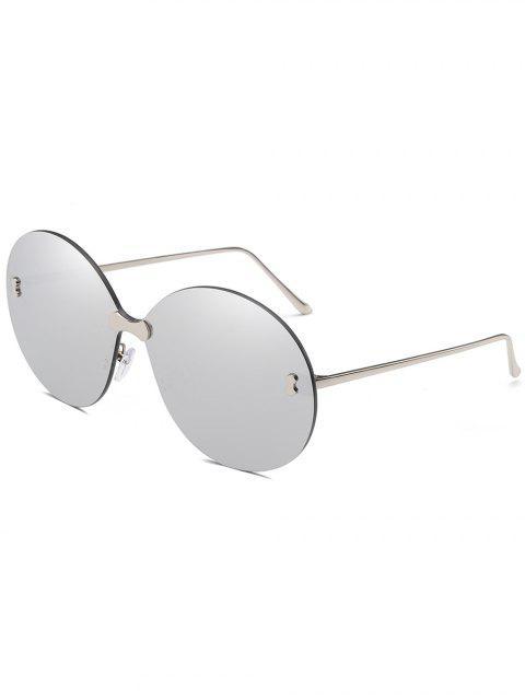 Lunettes Solaires Larges Rondes Anti-UV Sans Monture - Gris argenté  Mobile