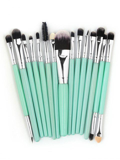 sale 15 Pcs Ultra Soft Fiber Hair Foundation Eyeshadow Eyebrow Cosmetic Brush Kit - MACAW BLUE GREEN  Mobile