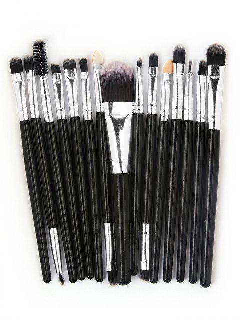 womens 15 Pcs Ultra Soft Fiber Hair Foundation Eyeshadow Eyebrow Cosmetic Brush Kit - BLACK  Mobile
