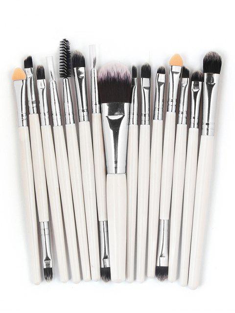 best 15 Pcs Ultra Soft Fiber Hair Foundation Eyeshadow Eyebrow Cosmetic Brush Kit - WHITE  Mobile