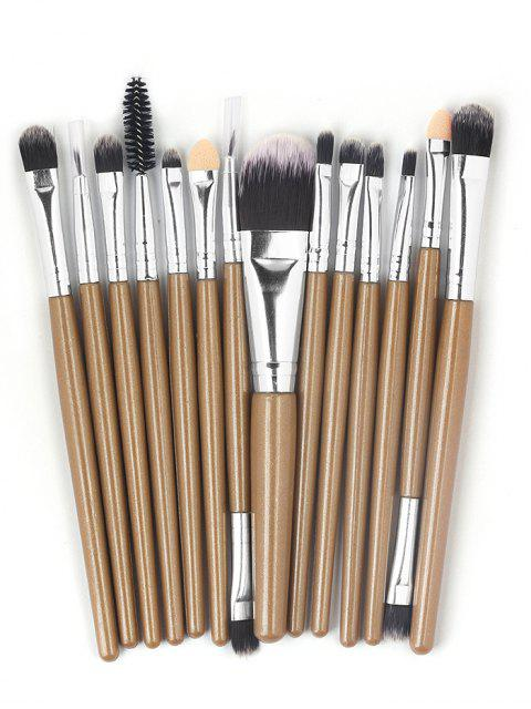 online 15 Pcs Ultra Soft Fiber Hair Foundation Eyeshadow Eyebrow Cosmetic Brush Kit - BROWN  Mobile