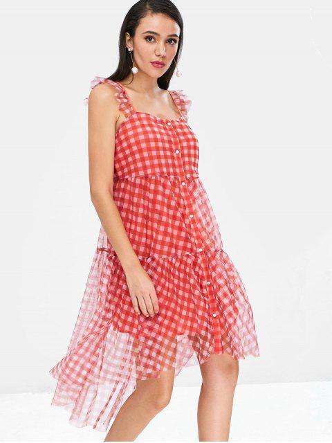 fashion Plaid Button Up Gauze Dress - CHESTNUT RED L Mobile