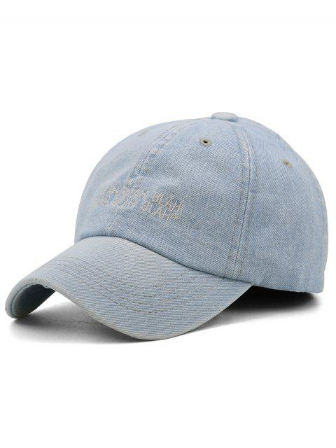 Fun Letter Bordado Washed Teñido Sport Hat - Azul Claro  Mobile
