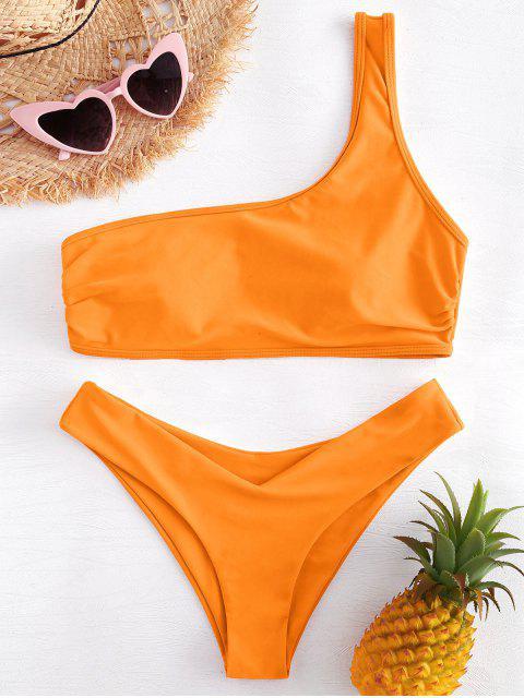 Gepolstertes Eine Schulter Hohes Bein Bikini Set - Orange S Mobile