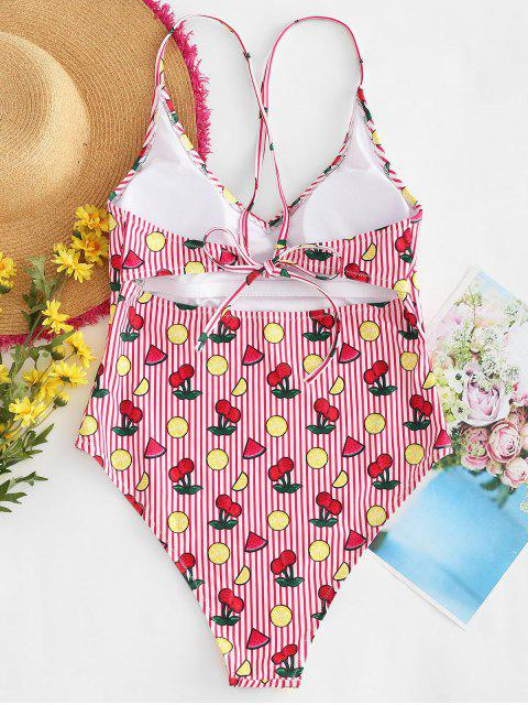 lady Cross Strap Cherry Striped Swimsuit - LAVA RED L Mobile