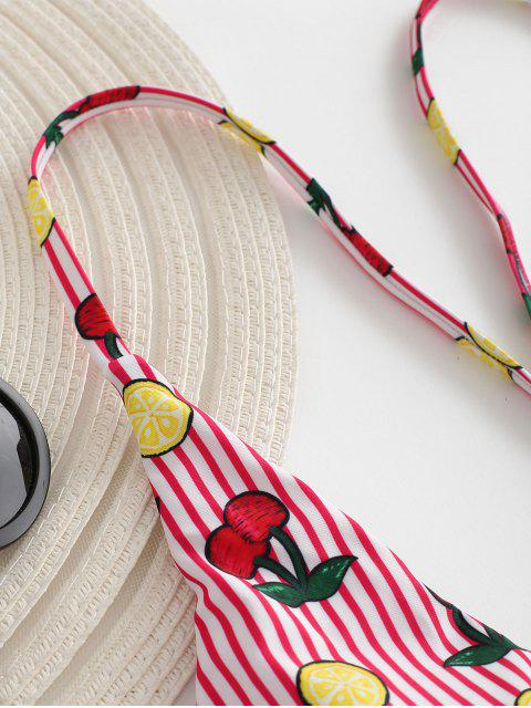 new Cross Strap Cherry Stripe Bikini - LAVA RED L Mobile