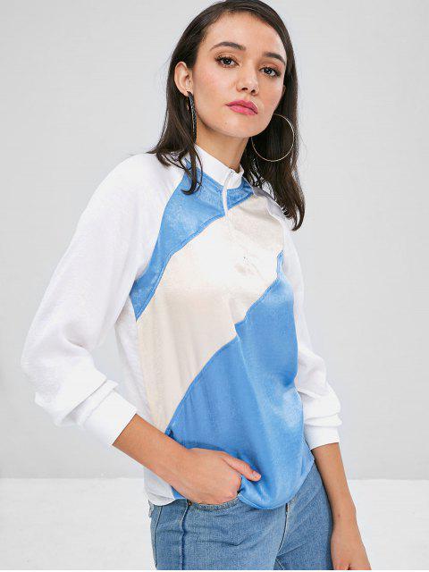 trendy Contrast Half Zip Raglan Sleeve Sweatshirt - MULTI S Mobile