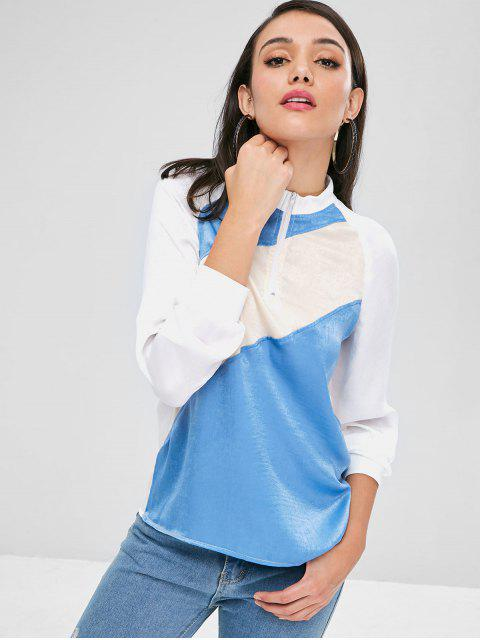 fashion Contrast Half Zip Raglan Sleeve Sweatshirt - MULTI M Mobile