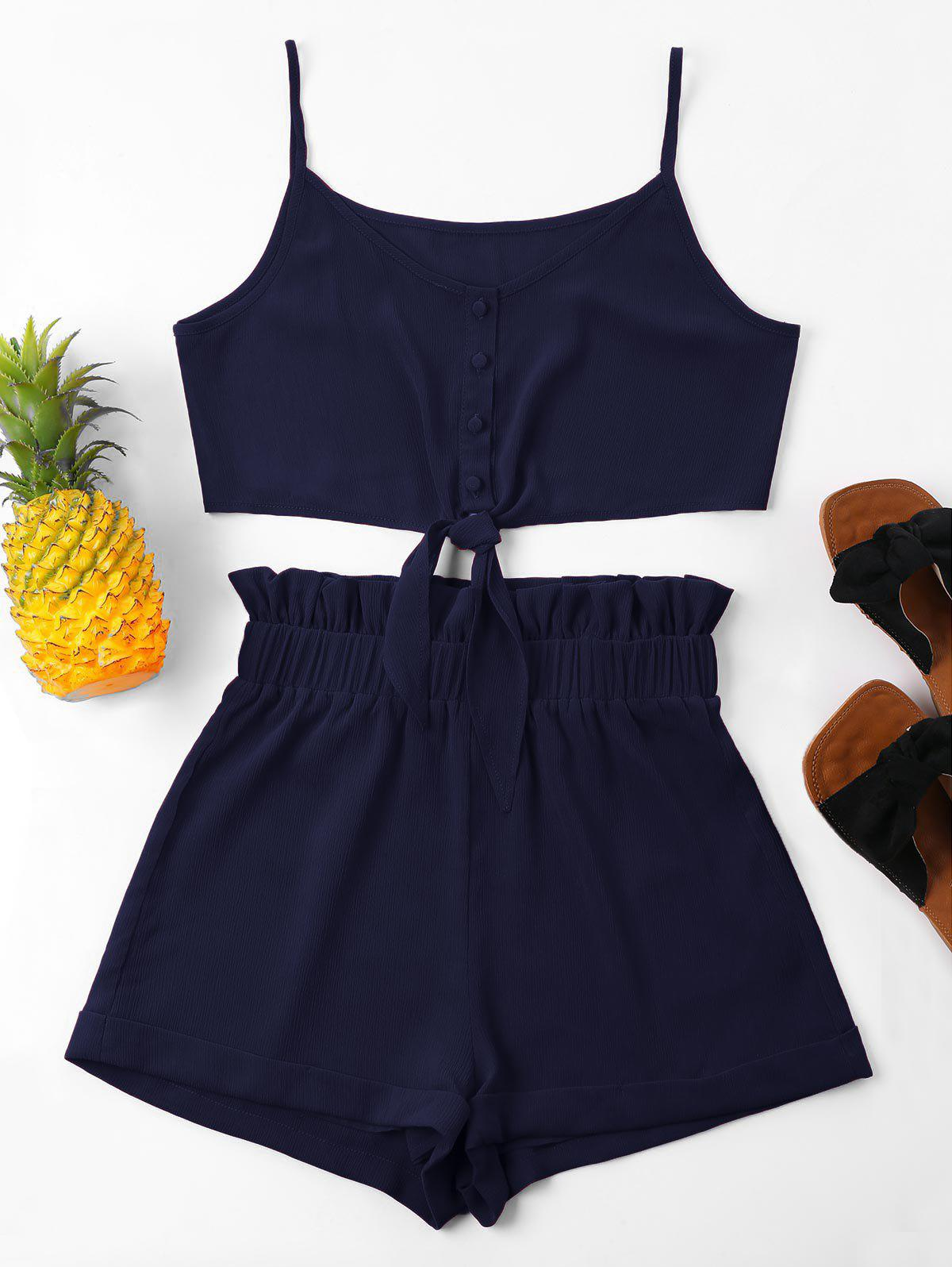 High Waisted Knot Cami Shorts Set