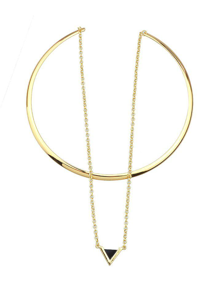 Triangle Pendant Choker Cuff Necklace