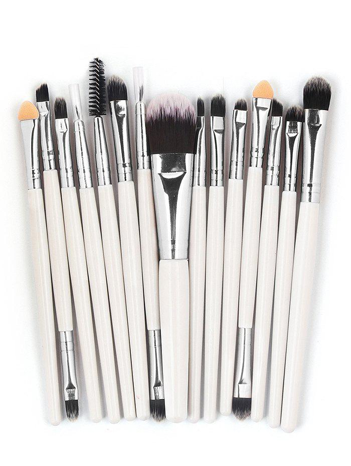 15 Pcs Ultra Soft Fiber Hair Foundation Eyeshadow Eyebrow Cosmetic Brush Kit