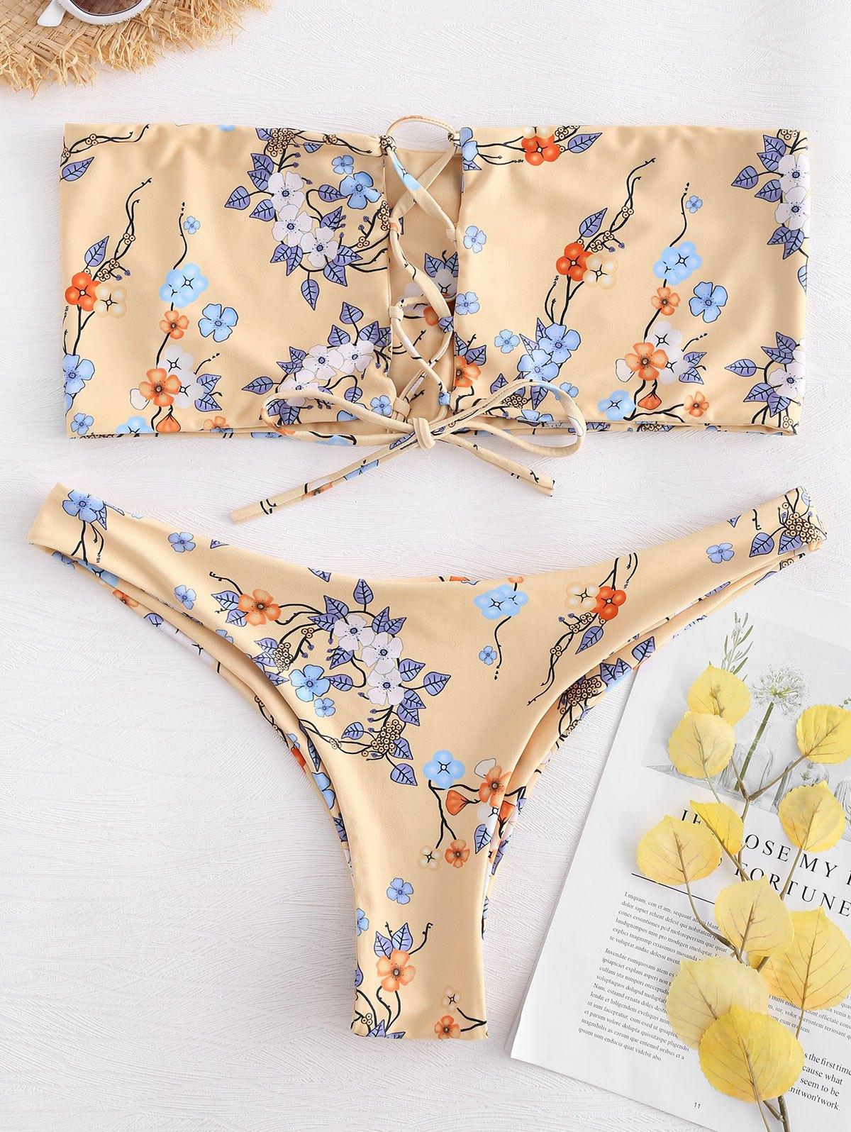 Plus Size Lace Up Bandeau Bikini Set 272692602