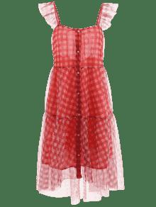 S Vestido o A Botones Con Casta Rojo Cuadros De Gasa qfUqwxHz