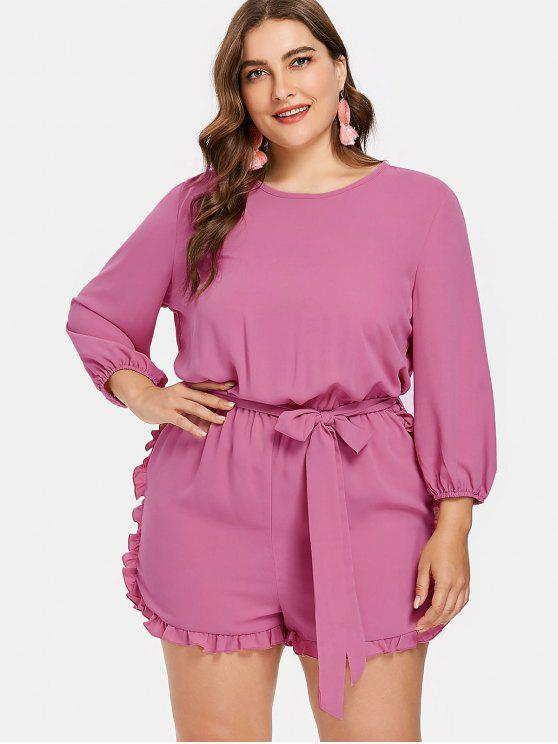 fashion Plus Size Belted Frills Trim Romper - PALE VIOLET RED L