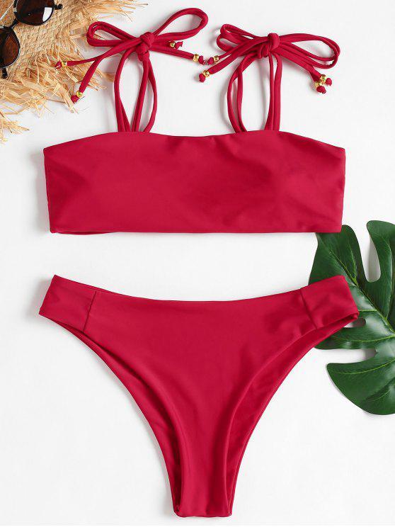 Bikini de corte alto con hombros descubiertos - Arándano L