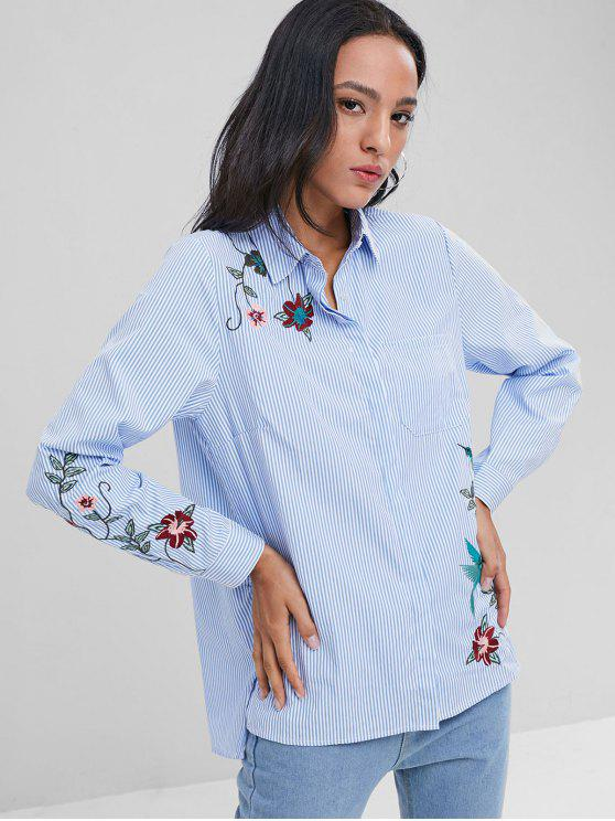 women Pocket Embroidered Striped Oversized Shirt - BLUE L