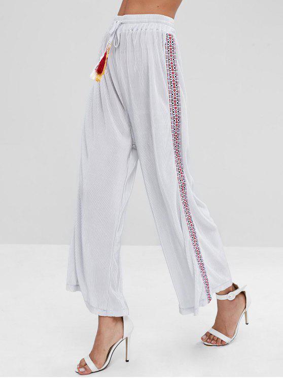 Patchwork plisado pantalones de pierna ancha - Platino M