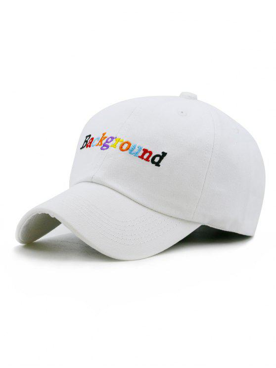 womens Colored Background Embroidery Snapback Hat - WHITE